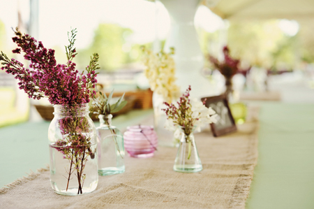 Little Jars wedding centerpieces