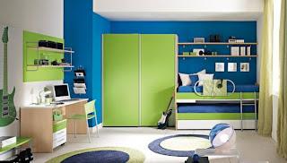 decoración cuarto azul verde