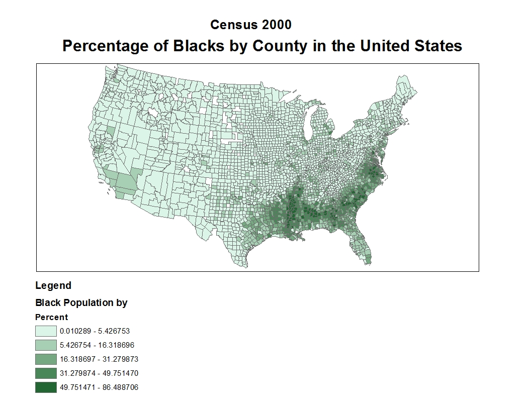 the above map shows the distribution of black population by percent in different counties in the united states light green represents the counties with