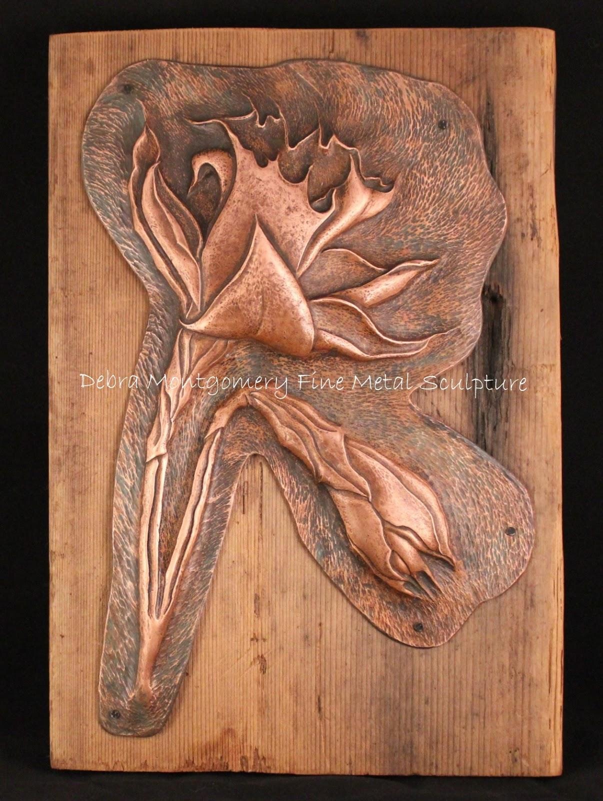 Debra Montgomery Fine Metal Sculpture Copper Daffodil Repousse