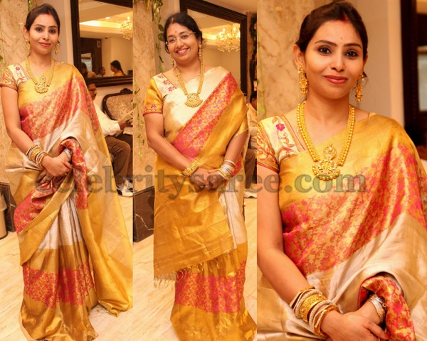 Cream and Gold Traditional Brocade Sari