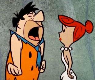 Imagen de Pedro Picapiedras gritando a su esposa Vilma