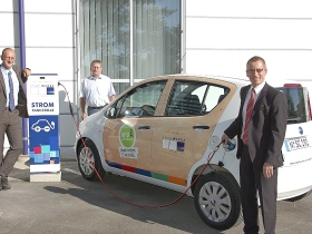City car with electric power from solar energy