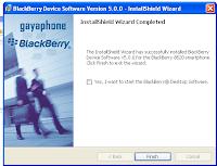 instalasi blackberry os selesai