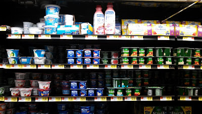 Kefir is in middle of the top shelf you can just barely see the