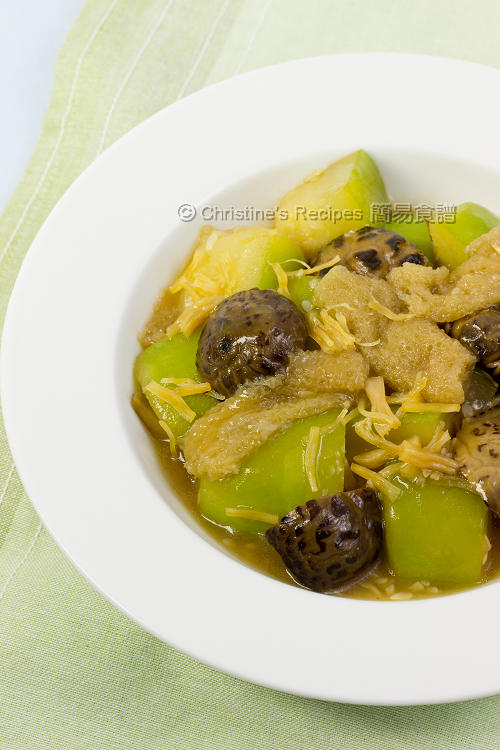 節瓜燜竹笙瑤柱冬菇 Braised Hairy Melon with Bamboo Fungus01