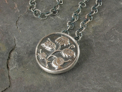 Cicada Silver:  PMC fine silver pendant made w/ vintage button mold