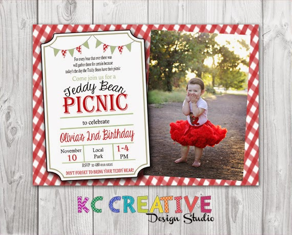 Kc creative design studio teddy bear picnic themed birthday party over a year later and this particular invitation is by far my best seller i have created many different versions of this invite through customizations filmwisefo Image collections