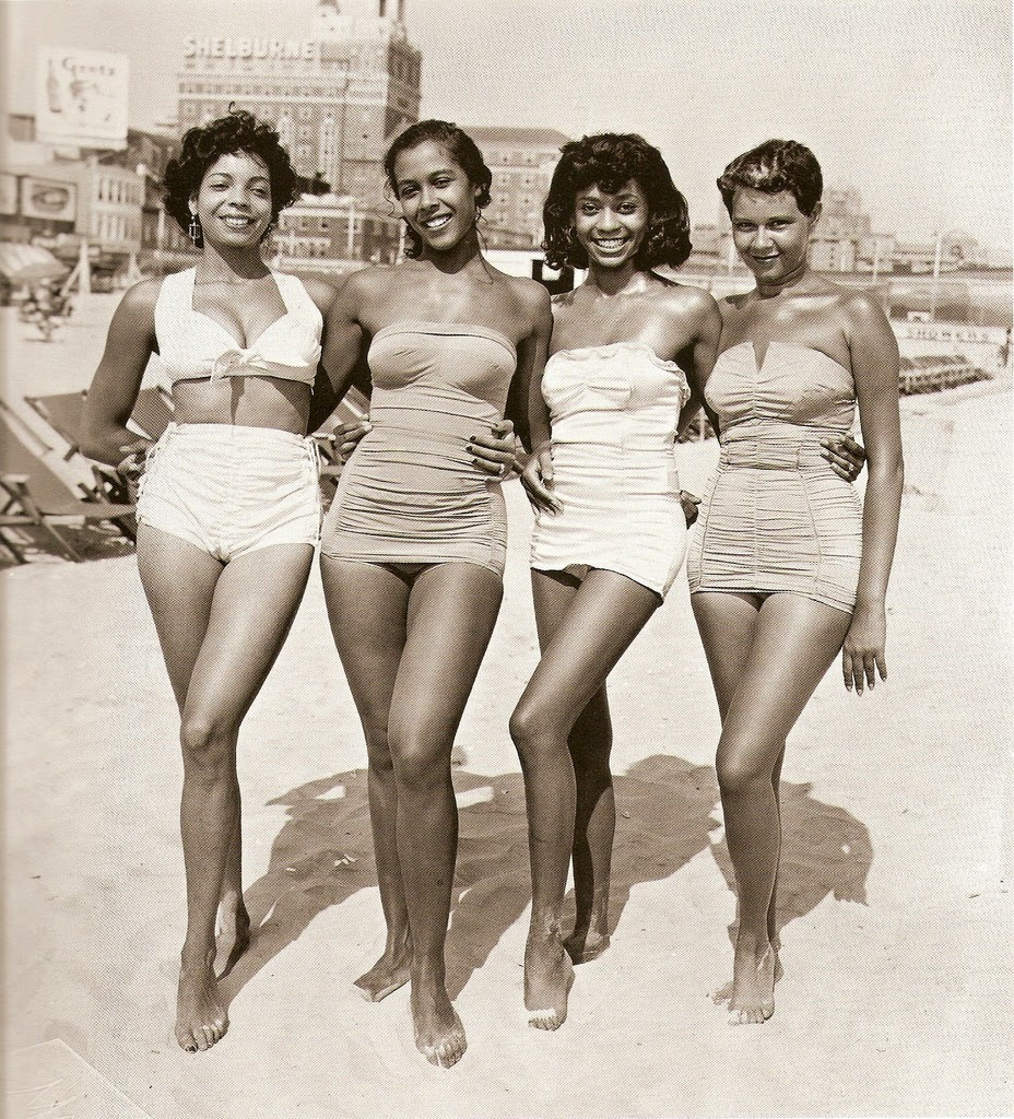 girls in bathing suits on the beach ca 1950s vintage
