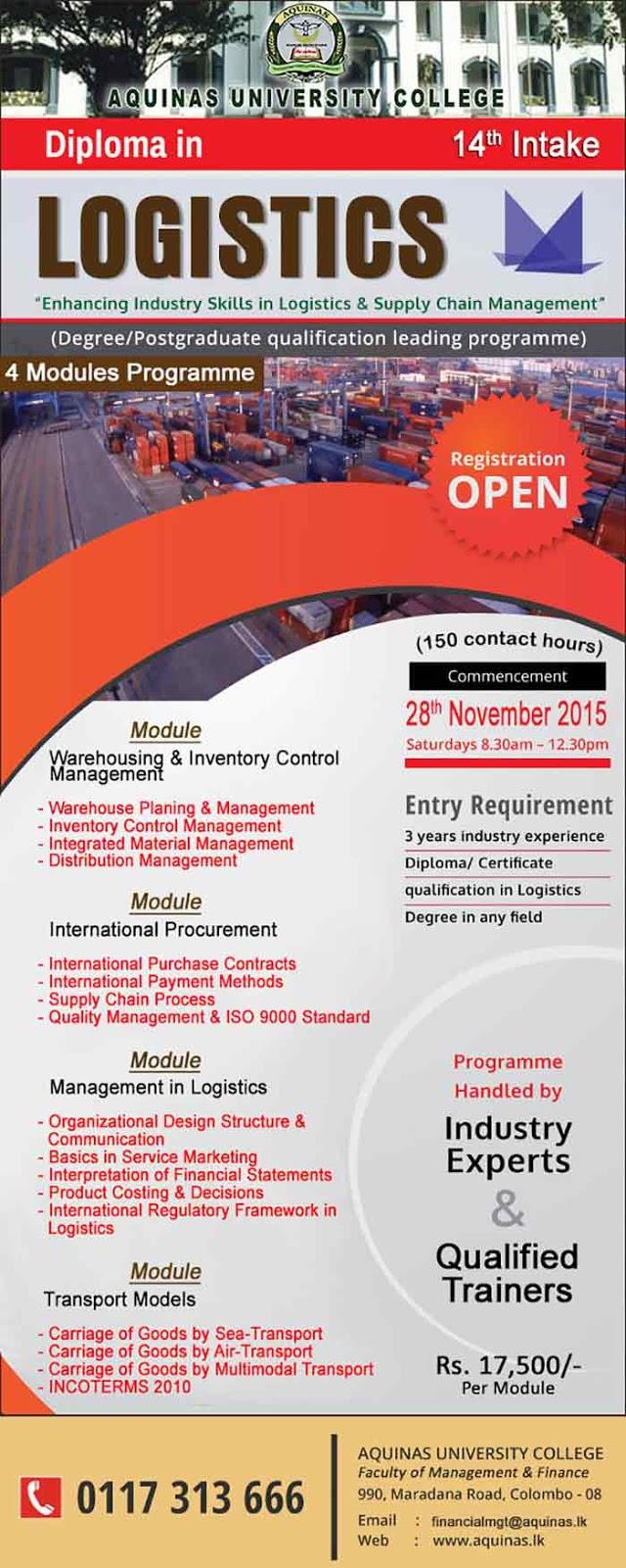 Diploma in Logistics - 14th Intake