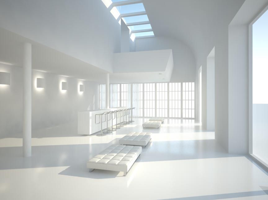Free c4d vray white room scene by the vrayforc4d team for Vray interior scene
