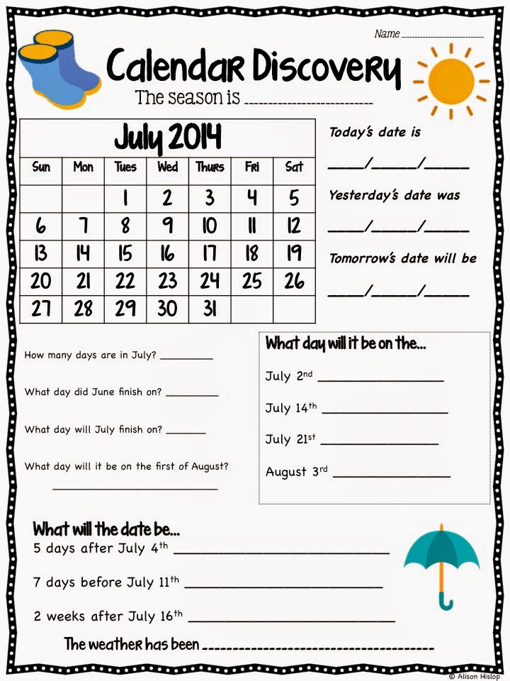Calendar Worksheet Grade : Calendar discovery updated free sample teaching maths