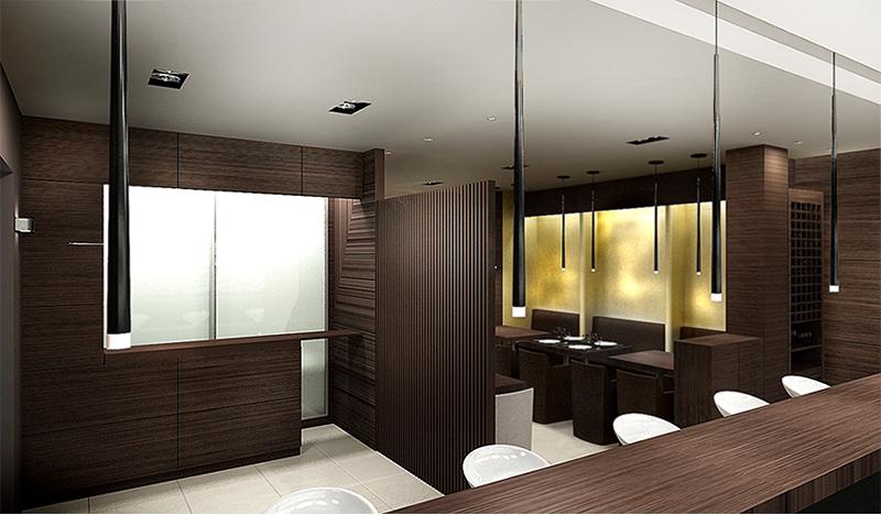 Entry zone. The Golden Club Restaurant & Dance design by Somerset Harris