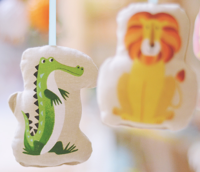 Crocodile and lion baby mobile