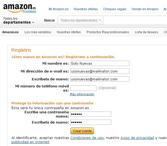Creamos una cuenta en Amazon