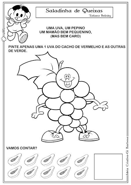 Atividade Matemática Educação Infantil Saladinha de Queixas.