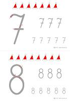 nauka pisania cyfr - czapki Mikołaja