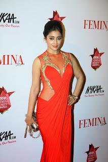 Shriya Saran Pictures in Red Long Dress at The Femina Beauty Awards 201513