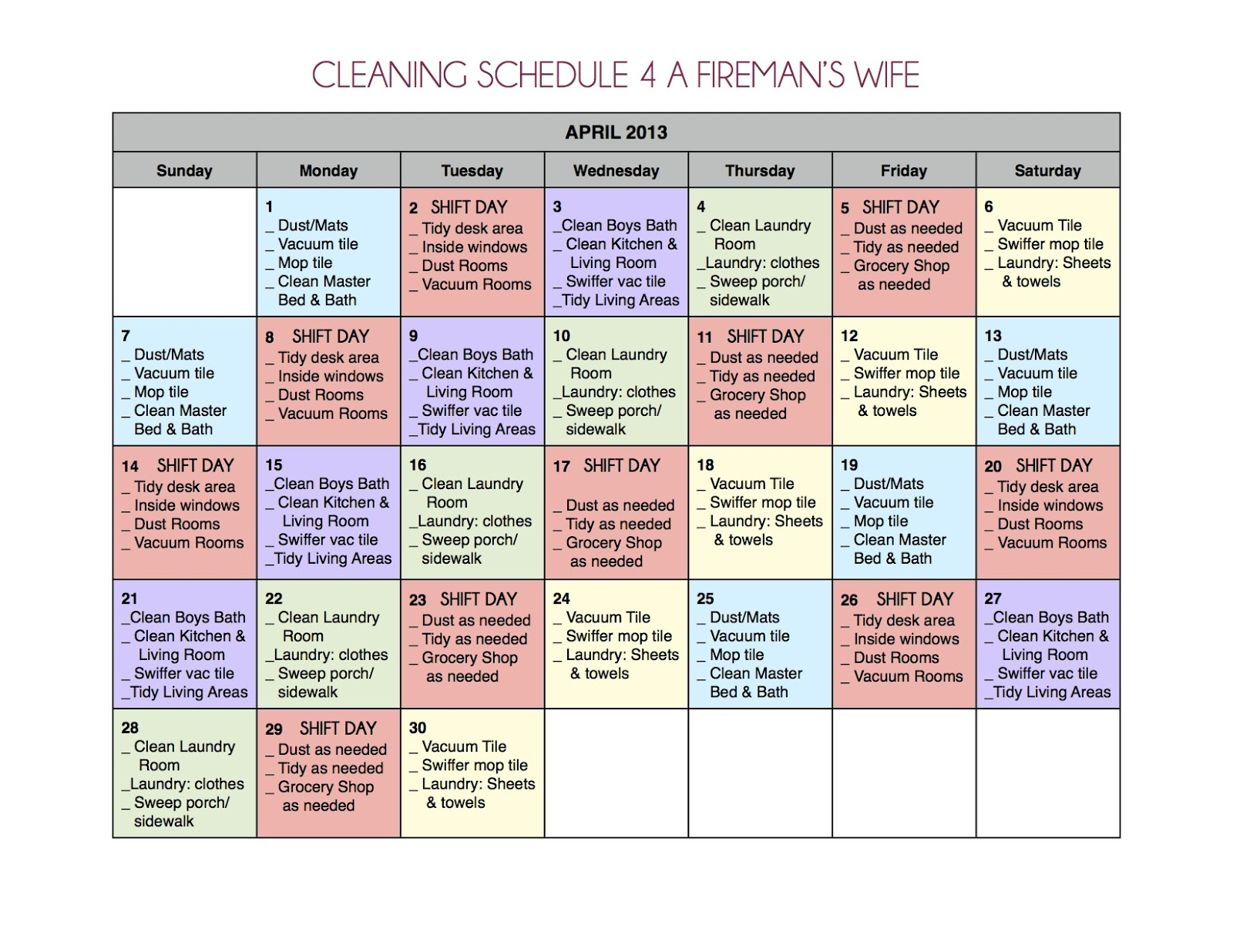 Monthly Work Schedule Template And is less work that way.