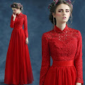 Long Sleeve Mandarin Collar Embroidery Crochet Top Chiffon Maxi
