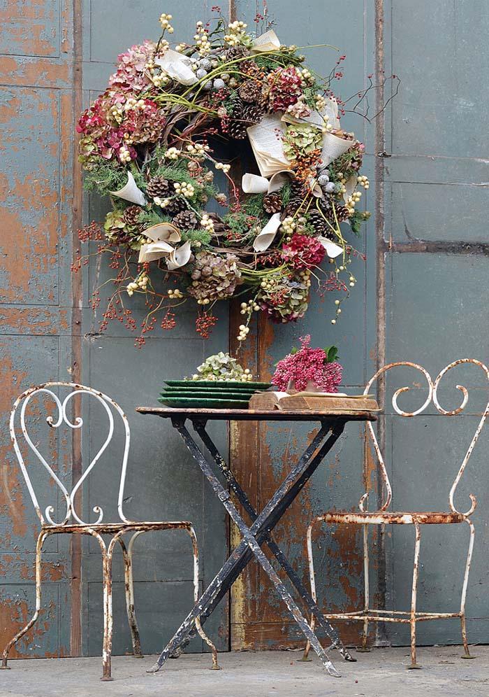 decoración navideña de arreglos florales naturales caseros- corona guirnalda