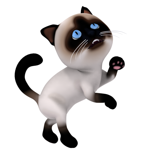 3D Cartoon Cat Character asking for food