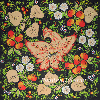 "This original Painting  ""Firebird with paradise apples"" 24cm x 24 cm in russian folk style Khokhloma available in a variety of printed styles, including  Greeting Card at http://painting.artistwebsites.com"
