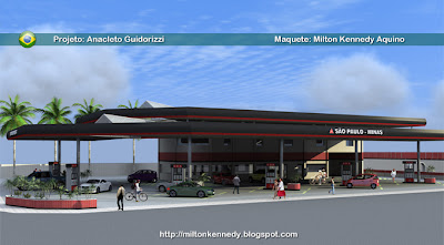Posto de gasolina, maquete virtual