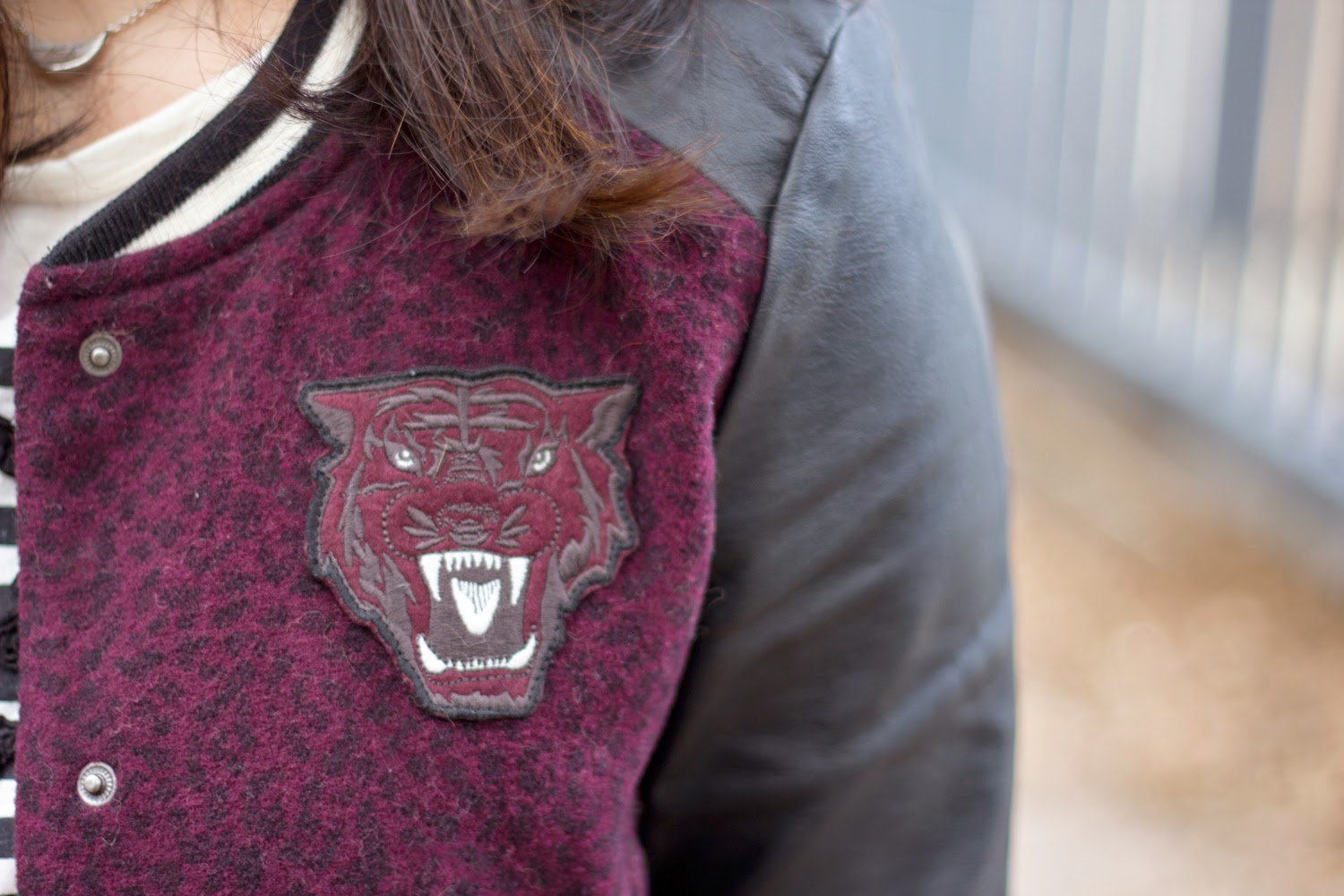 Burgundy-Faux-Leather-Sleeve-baseball-varsity-jacket, Spring-Casual-Look, Street-Style