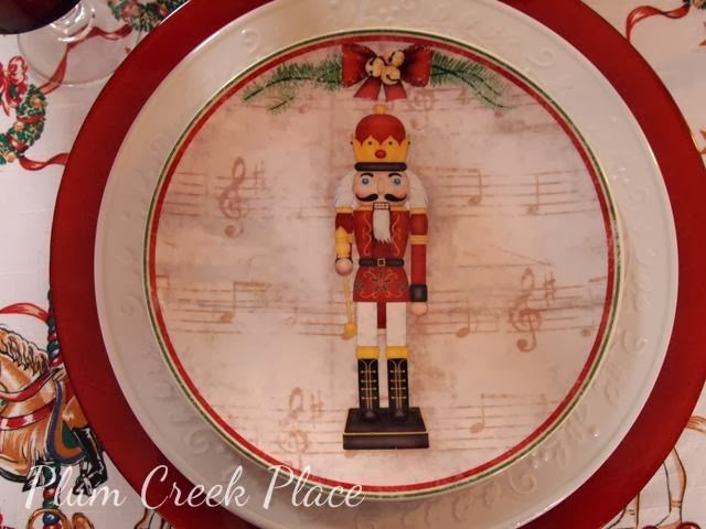 nutcracker plate & Plum Creek Place: Nutcracker Tablescape for Christmas