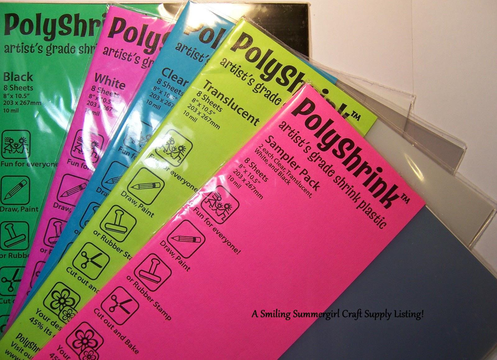 PolyShrink Artist Grade Shrink Plastic 8 Sheets Create Jewelry & Embellishments!