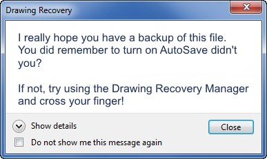 drawing recovery manager autocad