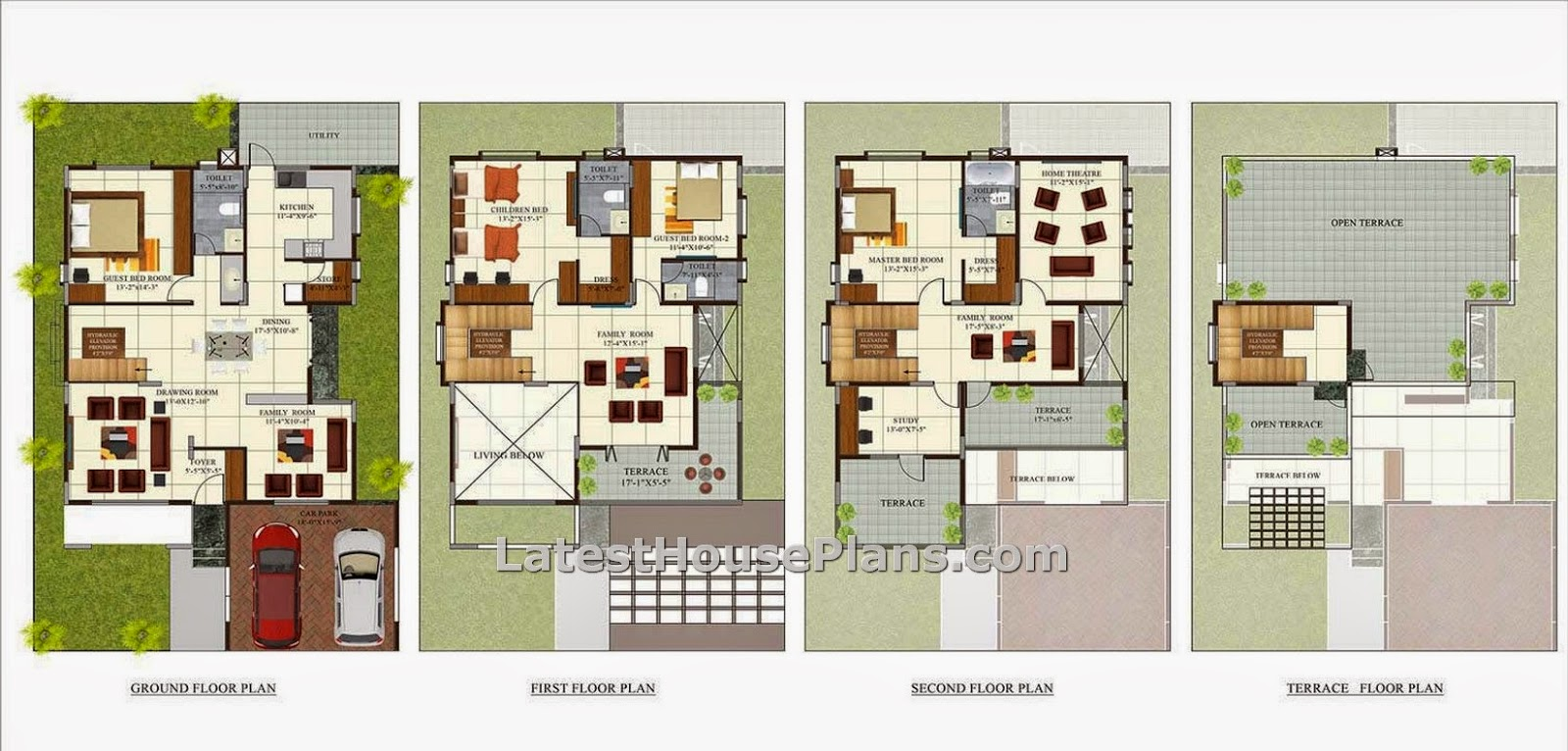 Four floor four bhk independent villa house plan in 4200 for Villa designs and floor plans