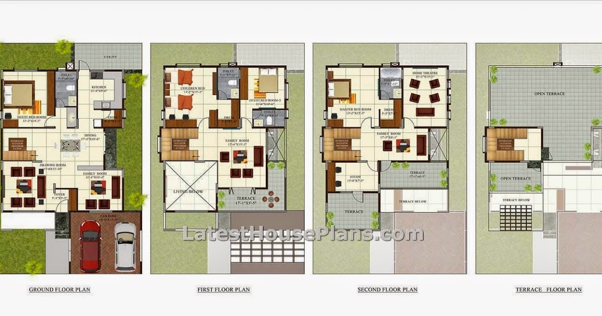 Four floor four bhk independent villa house plan in 4200 for Four bhk bungalow plan