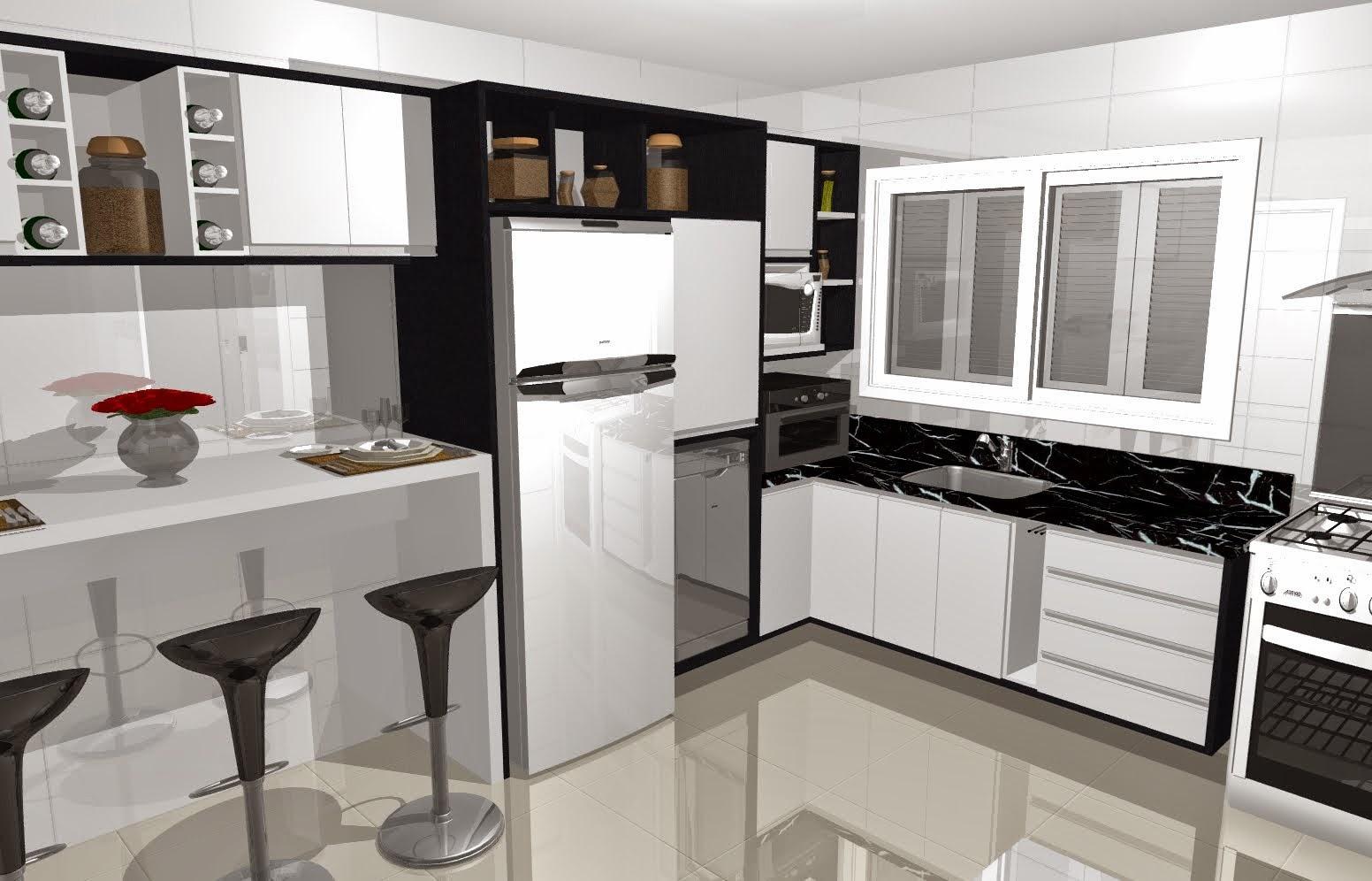 Projetos de cozinha preta e branca Realizando um Sonho Casamento  #8C643F 1552 996