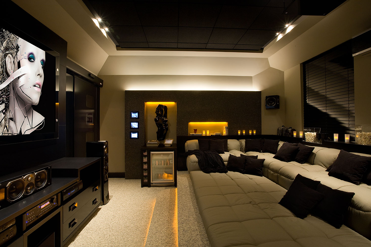 Arquitetura e interiores criando um home theater - Sala home cinema ...