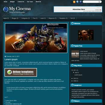 MyCinema blogger template. template blogspot magazine style. movie design blogger template