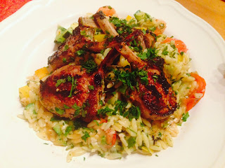 Yoghurt marinated lamb cutlets and Orzo with Feta and vegetables