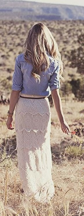 Lace Maxi Skirt & Chambray Blouse