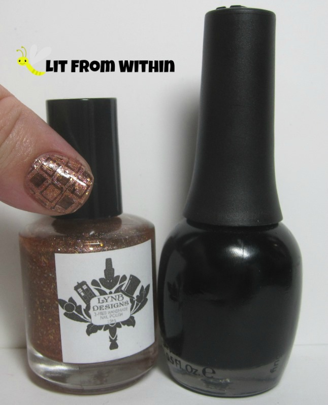 Bottle shot:  LynBDesigns Lobster Quadrille and Finger Paints Black Expressionism