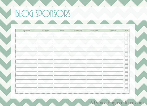 31 Awesome and totally FREE blog organization printables – Sponsor Sheets