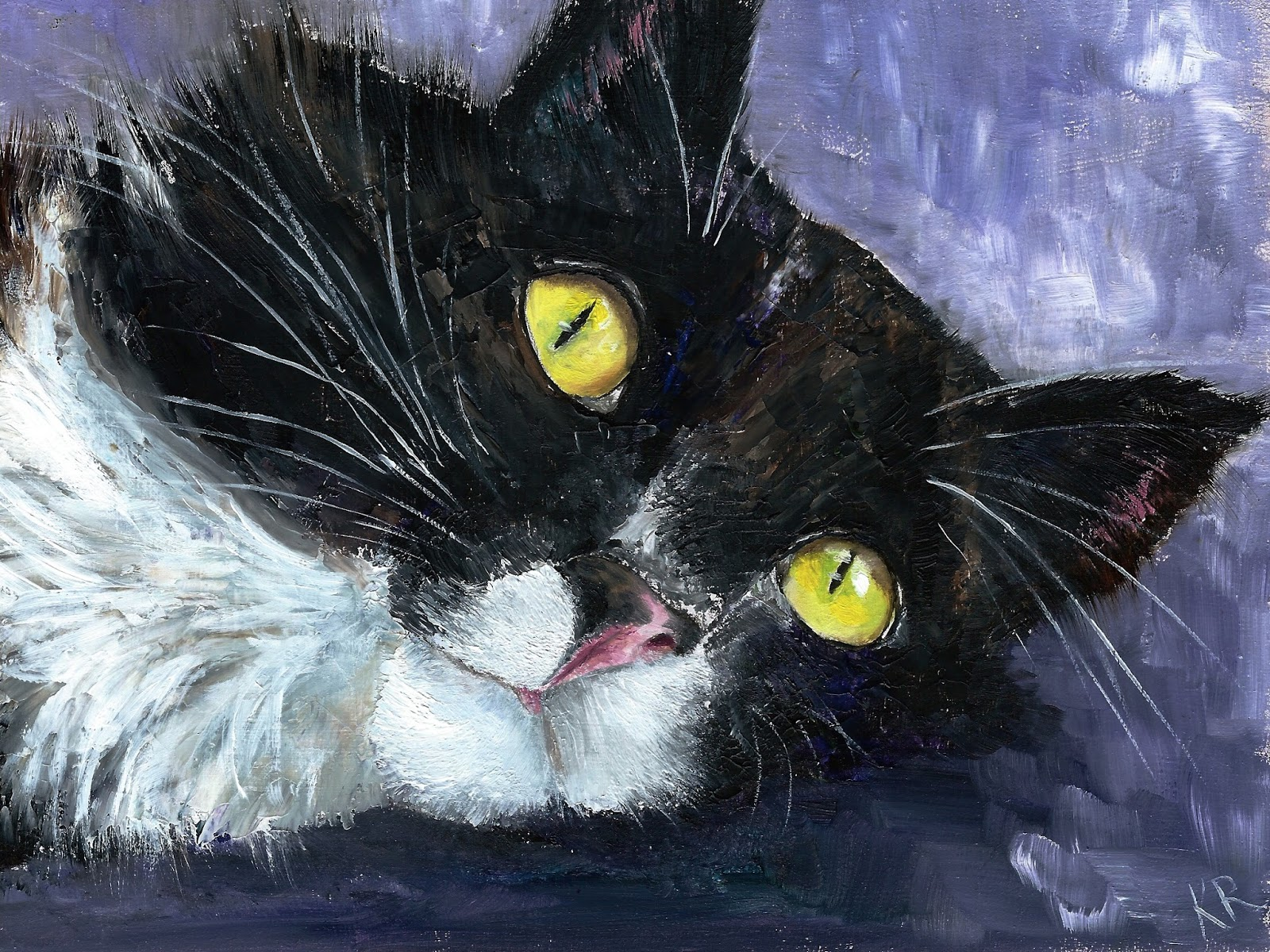Miss Whiskers, oil palette knife painting of cat, pet portrait by karen