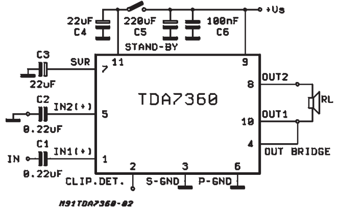 22w bridge    stereo audio amplifier with clipping detector