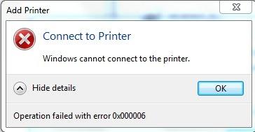 Lab fix printer problem error 0x00000006 cannot connect to server