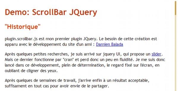 Plugin JQuery : Scrollbar