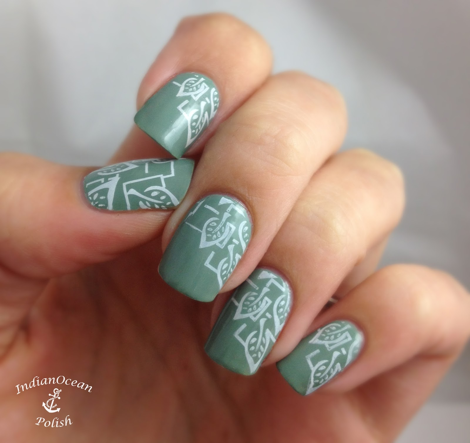 Indian Ocean Polish: Leafy stamping design from XL-O