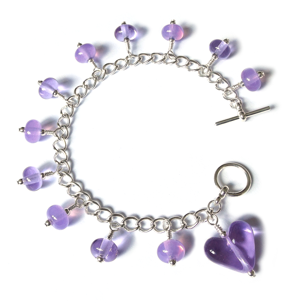 Lampwork glass 'Prettiness' bracelet
