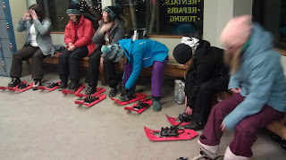 Putting on Snowshoes at Solitdue