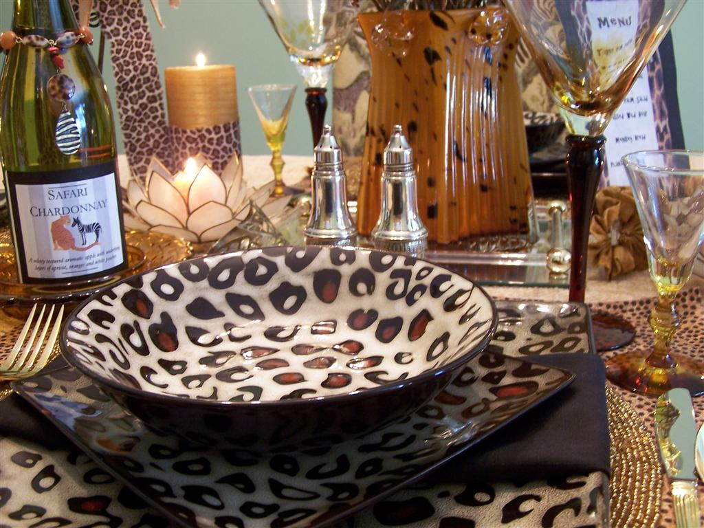 Tablescaping: Mikasa Leopard Dishes Tablescape