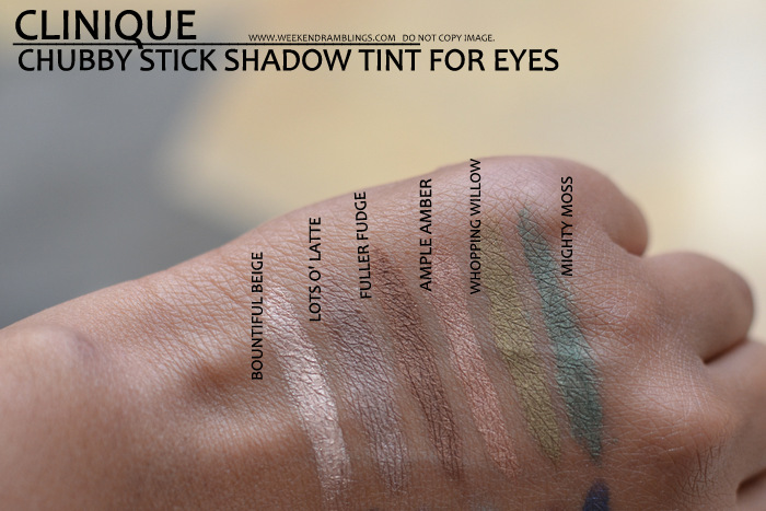 Clinique makeup chubby stick cream eyeshadow tints for eyes indian beauty blog darker skin swatches bountiful beige lots o latte fuller fudge ample amber whopping willow mighty moss pink plenty curvaceous coal lavish lilac big blue portly plum massive midnight